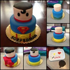 Mini Superman Cake by www.amberslittlecupcakery.com