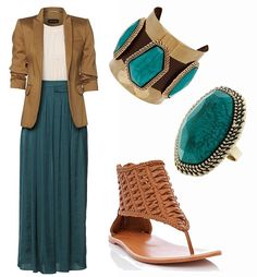 Long skirt outfit-in love with this color