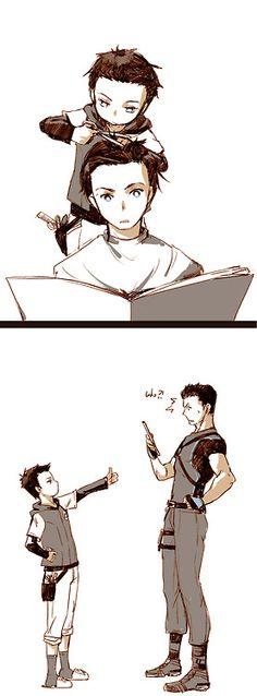 Damian cuts Dick's hair... Hahah I actually really enjoy Damian's haircut on guys.