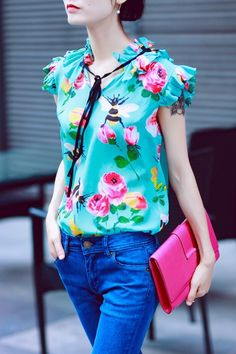 T&c.g Green Ruffles Floral Blouse | Blouses at DEZZAL
