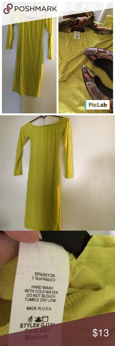 """Never worn dress Pop!!...fluorescent green long sleeve dress..elastic around scooped neck...18"""" sleeves...34"""" shoulder to bottom...with right accessories can go from work to party!!...Never Worn!!! go jane Dresses Long Sleeve"""