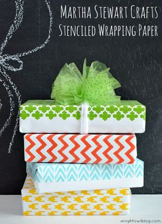 "I have to admit - I don't automatically flock to ""MS"" crafts - but I do totally love these.  Love the ease - and the idea you can personalize to coordinate with any color scheme.  So I will have to try it!  DIY Stenciled Wrapping Paper with Martha Stewart Crafts"
