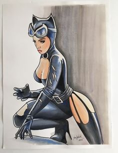 Original Colour Drawing of Catwoman - W.B.