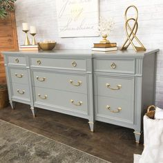 grey painted dresser with gold hardware