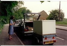 My old Citroen bx with trailer in the 1990s near Oxford a40