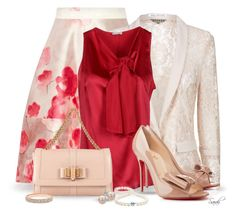 """Spring in Red, Nude Beige, and Lace"" by of-simple-things ❤ liked on Polyvore featuring Lela Rose, Jigsaw, P.A.R.O.S.H., Christian Louboutin, Bridge Jewelry, Tiffany & Co. and FOSSIL"
