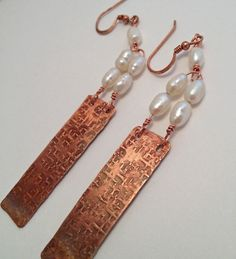 Textured Copper with Torch Patina and Fresh Water Pearls. 3 Inch Dangling Earrings $15