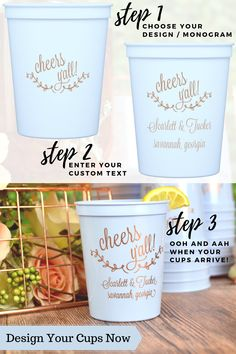 Reusable Plastic Stadium Cups (Set of Wedding Cups - Design the perfect souvenir cups for Wedding Plastic Cups, Wedding Cups, Wedding Reception, Wedding Bells, Wedding Favors, Wedding Decorations, Blush Champagne Wedding, Softball Wedding, Welcome To The Party