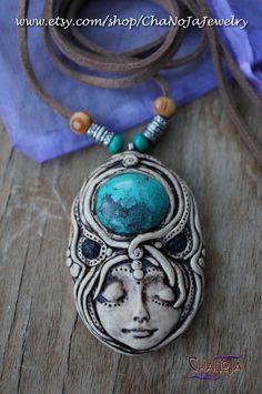 Goddess of Creativity 2 - custom order for Ilia <3 by Chanoja Jewelry. Goddess Pendant Turquoise Necklace Hippie Boho Spirit Volcanic Lava.