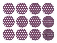 Sticker Polka Dots lila/weiß - 24 Stck.