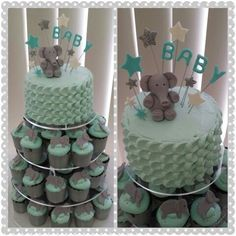 Baby Boy Shower Cupcakes With Elephants | Elephant Baby Shower Cake U0026  Cupcakes