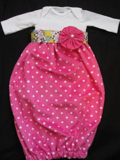 Pink Polka Dot Custom Minky Onesie Gown with by allisonmeredith, $35.00