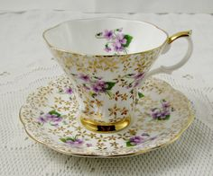 Royal Albert Tea Cup and Saucer with Gold Chintz and Violets, Vintage Tea Cup, English Bone China, Lyric Shape