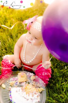 C. Linz Photography: Oh, Sugar, Sugar! / St. Louis Family Photographer - 1 year old cake smash outdoor