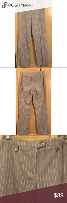 "Conrad C gray pinstriped trousers Conrad C gray & white/silvery striped trousers/pants. I call them ""work pants"", as in appropriate for an office setting but not part of a 2 piece suit. Worn once on a business trip (didn't have to dress ""corporate"" for daily work, only on the trip). Flattering style- No pockets to add bulk. Conrad C Pants Trousers"