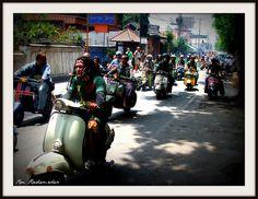 Vespa parade on Jalan Legian, Bali. #vespa #JalanLegian #Bali #Indonesia #scooters