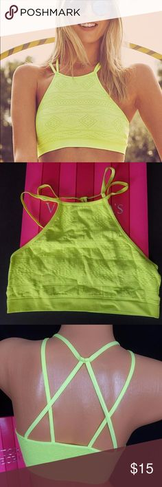 """Victoria's Secret Strappy Bralette S Lime Juice New with tags!!  Victoria's Secret Aztec Print Neon Yellow """"Lime Juice"""" Strappy Bralette. Size Small.  The last picture best shows what the true color is really like. It's really bright. Stay tuned for more listings, I'm cleaning out my closet!!! Victoria's Secret Intimates & Sleepwear Bras"""
