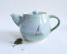 Boutique Etsy, Tea Pots, Workshop, Create, Tableware, Contemporary Mugs, Sailboat Drawing, Birthday, Atelier