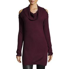 Love Scarlett Marilyn Cold-Shoulder Sweater ($32) ❤ liked on Polyvore featuring tops, sweaters, cherrywine, cowl neck sweaters, cutout shoulder sweater, long sleeve cowl neck top, purple sweater and open shoulder sweater