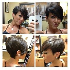 "Short hair cut; all angles  long bangs.  Love it. Everything old is new again! I had this cut in 5th grade. It was called ""the Sassoon"""