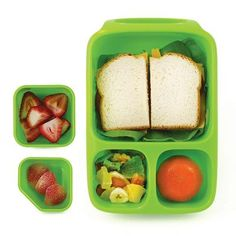 Pack a fun, healthy bento style lunch for school or work, with the Goodbyn Hero Lunch Box Container. Great for kids going to school or for heading to work, the Goodbyn Hero Bento Lunch Box comes in blue, green and red, and has plenty of room for sandwiches, fruits, side salad and more! The bento design makes it perfect for kids and adults looking for variety at lunch time!