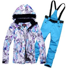 Sale Price $82.57, Buy Thermal Woman Waterproof Windproof Mountain Fleeced Padding Ski Jackets and pants Suit Winter Sports Skiing Clothing Sets
