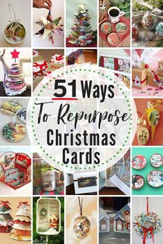51 EPIC Ways To Reuse & Repurpose Old Christmas Cards Right Now. 51 EPIC ways to recycle old Christmas cards. These Christmas card craft ideas are eco-friendly & a great way to create keepsakes of past holidays. Christmas Ecards, Christmas Card Crafts, Old Christmas, Vintage Christmas Cards, Homemade Christmas, All Things Christmas, Holiday Crafts, Christmas Holidays, Christmas Ideas