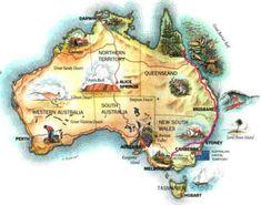 Australia, info utili prima di partire - Blog di Viaggi - Viaggiatrice Dichiarata di Chiara Parodi Geography Of Australia, Australia Map, Brisbane Australia, Western Australia, Geography Map, World Geography, Perth, Shrimp On The Barbie, Flo Jo