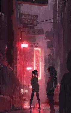 Best Artist HD Wallpapers on Page 5 Concept Art World, Environment Concept Art, Aesthetic Art, Aesthetic Anime, Arte Emo, Cyberpunk City, Japon Illustration, Dark City, City Background