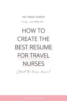 Sarah was unhappy and broke. Sarah hated her job and desperately needed a break. Sarah felt like she didn't have any other options. I've been Sarah before. Have you? Oh, right now?? Okay, let's talk travel nursing and get you out of this rut! Travel Nursing, Nursing Jobs, Nursing Resume Template, New Nurse, Phone Interviews, Best Resume, Professional Development, Pediatrics, Traveling By Yourself