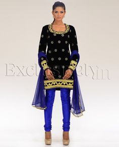 Embroidered Black and Blue Velvet Suit