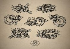 Simple Black Ink Rope Knot Tattoo Flash