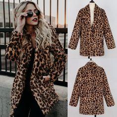 Women Long Faux Fur Leopard Print Winter Coat Leopard Jacket, Parka Style, Winter Coat, Coats For Women, Faux Fur, Fur Coat, Winter Jackets, Wool Blend, That Look