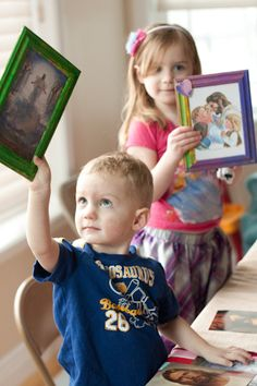 "Fun FHE idea: Let them paint frames and choose from assorted pictures of Jesus to display in their room. Also, ""I am a child of God"" with any if the several pictures of Jesus with children for the 2013 theme!"