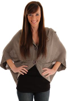 Gray Comfy Studded Button Up Poncho Sweater Top.  Made from a very comfortable, heavier weight material that's perfect for the cold weather. Design combines studs, buttons, and a faux hoodie for one unique look you simply can't find anywhere else!  Come see it at http://shrsl.com/?~4xxq  $20.89