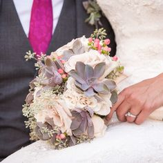 Classic and fresh groom's tie in pink and amazing exotic bouquet! photo: www.eyecontact.ca