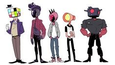 I started drawing the main characters and then got carried away drawing some of the secondary, tertiary, and background characters (excluding friend's and cameo ocs). Character Drawing, Character Illustration, Character Concept, Concept Art, Pretty Art, Cute Art, Desenhos Halloween, Object Heads, Tv Head