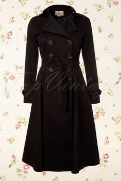 Collectif Clothing - Dietrich Swing Trench Coat in Black  Size: small €114.95  $193.24