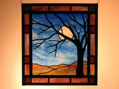 Full Moon - Hanging stained glass mountain landscape by Magruder Glass in Asheville, North Carolina