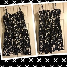 Black Summer Dress  EUC...Spaghetti Straps. Length 35' from shoulder. 97 % Cotton 3% Spandex. Lining 100% Polyester. Comfortable cute summer dress B Smart Dresses