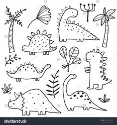 Cute dinosaurs and tropic plants Funny cartoon dino collection Hand drawn vector… – Holz Tier Doodles, Cute Doodles, Hand Doodles, Simple Doodles, How To Doodles, Things To Doodle, Funny Doodles, Doodle Drawings, Easy Drawings
