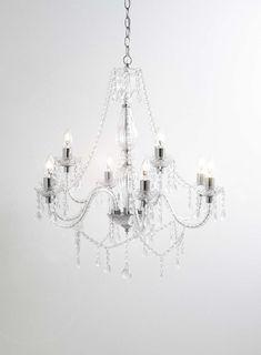 Chrome Bryony 9 light Chandelier - BHS bedroom lighting, living room light, crystal glass. Vintage style chandelier. BHS