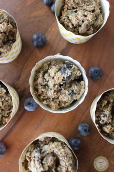 Zucchini Blueberry Oat Muffins. Vegan. Gluten Free by Knead to Cook.