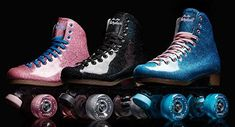 Sure-Grip Stardust Glitter Roller Skate for Women/ for Men Outdoor Roller Skates, Glitter Boots, Sparkle Shoes, Disco Roller Skating, Skateboard Outfits, Outdoor Skating, Roller Derby Girls, Glitter Fashion, Figure Skating
