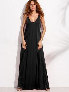 Black Sleeveless Double V-Neck A-Line Tent Dress