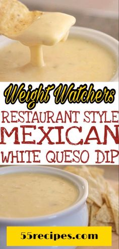 This Mexican white queso dip is a creamy cheese dip that contains just 3 . Restaurant style white queso dip skillet topped with fresh salsa. Weight Watchers Appetizers, Weight Watchers Meals, Weigh Watchers, Ww Recipes, Mexican Food Recipes, Cooking Recipes, Recipies, Mexican Cooking, Clean Eating Snacks