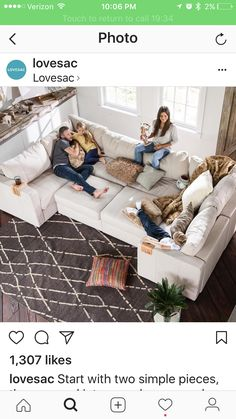 In the morning, they had two L-Sectionals. For movie night, they reconfigured into this Moon Pit lounger. Do it all with the couch without limits. Living Room Sofa, Home Living Room, Living Room Designs, Living Room Furniture, Home Furniture, Living Room Decor, Hangout Room, Home Theater Rooms, Room Decor Bedroom