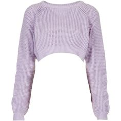 **Lilac Cropped Waffle by The Ragged Priest ($24) ❤ liked on Polyvore featuring tops, sweaters, crop tops, jumpers, long sleeves, lilac, extra long sleeve sweater, lilac top, waffle top and lilac crop top