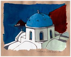 Santorin, Oia (encre et gouache) ©Antoine Digout