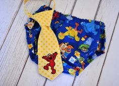 Diaper Cover and Little Guy Tie - Elmo Sesame Street - Red Blue Yellow Sesame Street Little Guy Tie and Diaper Cover - Elmo or Sesame Street Party, Cake Smash, Photo Prop